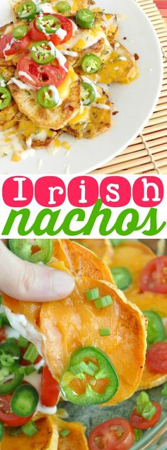 Irish Nachos :: roasted spud slices topped with a mountain of melted cheese + all your favorite nacho toppings! This is the appetizer you'll want as your entree!
