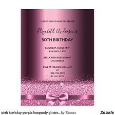 Shop birthday purple burgundy glitter invitation postcard created by Thunes. Personalize it with photos & text or purchase as is! 90th Birthday Parties, 16th Birthday, Birthday Party Invitations, Birthday Gifts, Birthday Ideas, Teen Birthday, Glitter Invitations, Elegant Invitations, Burgundy