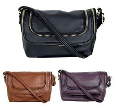 RAMPAGE Ladies Crossbody Bag with Zipper Accent RP4287 chooice of 3 colors