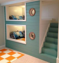 Kids Room, Exciting Design Of Adorable Built In Space Saving Bunk Bed Decor Inspiration And Aqua Painted Staircase Also Two Small Round Windows Space Saving Bunk Beds For Small Kid ~ Aesthetic Style Of Space Saver Bunk Beds Looked Very Excited And Breathtaking