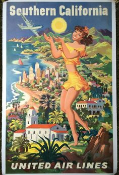 Original Travel Poster United Airlines Southern California Joseph Feher Vintage