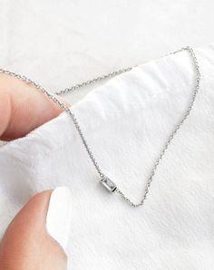 Baguette Diamond Necklace // Vrai & Oro