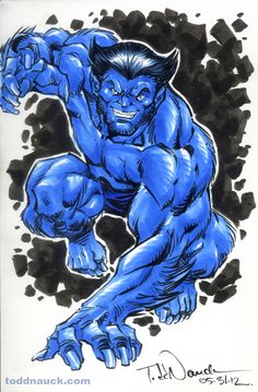 X-Men Watercolor and Pigma Micron markers. X-Men 1984 Marvel Gif, Marvel Dc Comics, Marvel Avengers, Uncanny Avengers, Marvel Heroes, The Beast, Comic Book Characters, Comic Books Art, Marvel Characters