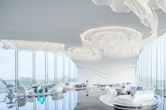 Shimao ·The Wave | Lacime Architects; Photo: CAAI | Archinect Construction Group, Construction Design, Office Curtains, Shell Structure, Building Skin, Glass Curtain Wall, Book Bar, Chief Architect, Outdoor Theater