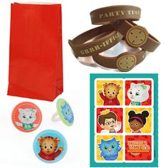Daniel Tiger Party Favor Set - 12 Guests - Favor Bags, Wristbands, Cupcake Rings, Stickers More Daniel Tiger Party Supplies at PartyMajors