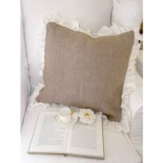 French Recreations 20x20 Burlap Pillow with Linen Edges