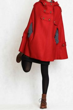 Poncho Cape Coat Jacket Wool Blend Shell, W Hoodie, RED, NEW