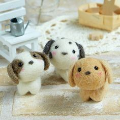 DIY handmade Wool Felt kit Little puppy - Japanese kit package H441-482 #feltedpuppy