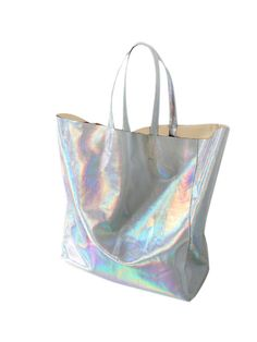 holographic tote bag| $27.99  holographic pastel grunge cyber grunge cyber punk cyber goth fachin tote bag tote bag purse accessories under30 free shipping choies