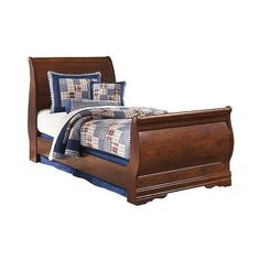 Twin Bed: Wilmington Twin Sleigh Headboard Reddish Brown - Signature... ($106) ❤ liked on Polyvore featuring home, furniture, beds, brown, cherry wood headboard, twin headboard, brown bed, cherry headboard and twin head board