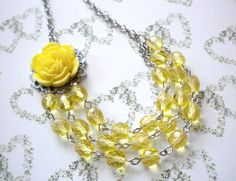 Flower Necklace Bib Necklace Three Strand Statement Necklace Yellow Bridesmaid Necklace