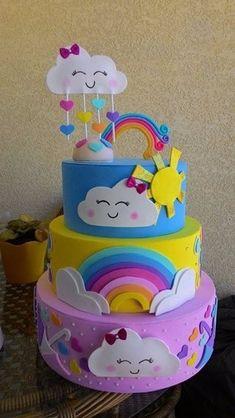 bolo fake chuva de amor três andares Baby Girl Birthday Theme, Baby Birthday Cakes, Bolo Fake Eva, Bolo Fack, Torta Baby Shower, Elegant Birthday Cakes, Rainbow Unicorn Party, Teen Cakes, Fake Cake