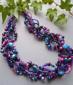 Purple necklace, multi strand necklace, statement necklace: Tahiti Sunset by EvenTheStones