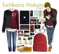 """Tachibana Makoto [Free!]"" by anggieputeri ❤ liked on Polyvore featuring H&M, Equipment, Burberry, Boohoo, Onitsuka Tiger, Bumble and bumble, NARS Cosmetics, Henri Bendel, Isaac Mizrahi and Aesop"