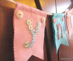 Custom Baby Name Banner Felt Baby Bunting Flags Button Letters