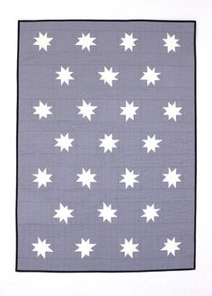 White and Grey Star Baby Quilt or Toddler  Quilt