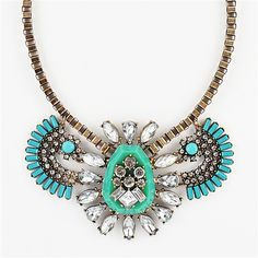 Cluster Frontal Necklace - gold-tone turquoise crystal bib necklace by Shamelessly Sparkly