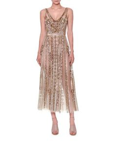 W0GJE Valentino Sleeveless Sequined Tulle Gown, Nude/Gold