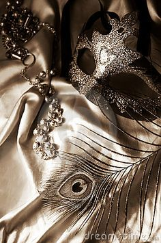 Masquerade mask, beads and feather in sepia