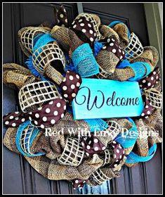Summer Wreath, Wreath, Deco Mesh Wreath, Deco Mesh, Spring Wreath, Burlap Wreath, Burlap, Spring, Summer by Becki Branum-Niedbalski
