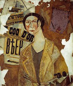 Portrait of Natalia Goncharova by Mikhail Larionov (1915)