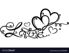 Valentines Day decoration vector image on VectorStock Butterfly Tattoo Designs, Heart Tattoo Designs, Love Symbol Tattoos, Body Art Tattoos, Tattoos With Kids Names, Tattoos For Women, Tattoo Lettering Fonts, Hand Lettering, Two Hearts Tattoo
