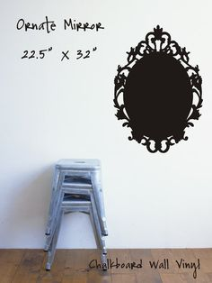 Ornate Mirror Chalkboard Vinyl Decal