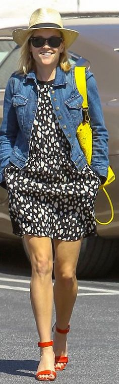 Who made Reese Witherspoon's black sunglasses, blue denim jacket and yellow handbag that she wore in Los Angeles?