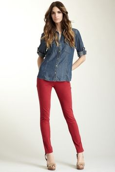 Denim shirt and Red pants. Makes a cool combo for a casual outing.