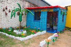 Eco-brick tree planter! Made from plastic stuffed into ...