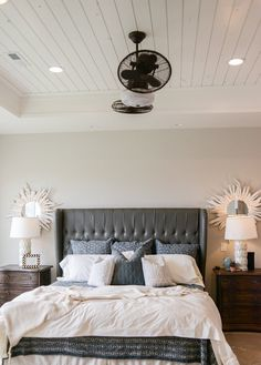 New Home Plan Ideas Bedroom Ceiling. The master bedroom features tray ceiling with pine shiplap pain Pine Bedroom, Farmhouse Master Bedroom, White Bedroom Furniture, Small Room Bedroom, Master Bedroom Design, Small Rooms, Modern Bedroom, Cozy Bedroom, Bedroom Designs