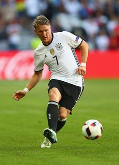 Bastian Schweinsteiger of Germany in action during the UEFA EURO 2016 round of 16 match between Germany and Slovakia at Stade Pierre-Mauroy on June 26, 2016 in Lille, France.