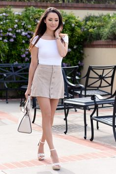 Express top, skirt and ankle strap wedges. Jessica Ricks, Hapa Time outfit. Beauty on High Heels #Fashion