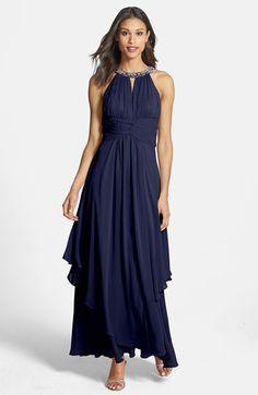Tiered chiffon halter gown