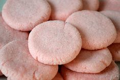 Pink Mexican Sugar Cookies   3 dozen      1 cup shortening   1 cup sugar   1 egg   2 1/4 cups flour   1/2 teaspoon baking powder   1/2 t...