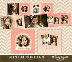 3x3 Mini Accordion Album Template - WHCC Photoshop Templates for Photographers INSTANT DOWNLOAD. $10.00, via Etsy.