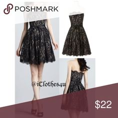 Chantilly Lace Black Party Dress Robert Rodrigues for Neiman Marcus creates this stunning strapless Chantilly Lace with contrasting underlay party dress.  Scalloped strapless neckline tops fitted bodice that flares and finishes with a matching scalloped hemline.  A ribbon tie belt is attached at the waist and doesn't require any fuss. Built in Bust support with separate bra closure and boning all around makes this strapless easy to wear.  Hidden zipper closure in back. Size 6 Approx:  Bust…