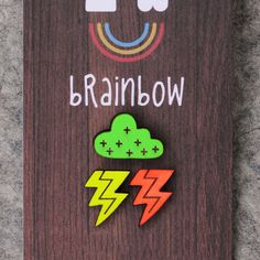 Neon Earrings  Stormy Weather by bRainbowshop on Etsy, £17.67