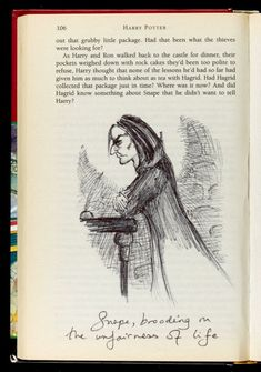 #JKRowling's hand-drawn sketches in one of the first editions of #HarryPotter.