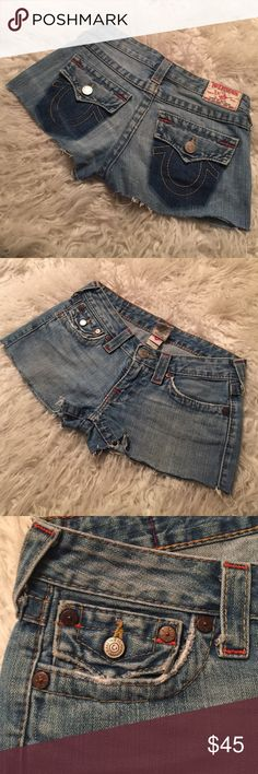 Joey short distressed D.I.Y Pre loved distressed shorts, light wash. True Religion Shorts Jean Shorts
