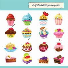 Stylish Sweet Cake Clipart. Food Illustration. 16 Colorful Cute Cupcakes Clipart 005 on Etsy, 2,99 €