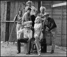 "On the set of ""The Misfits"" with Montgomery Clift, Marilyn Monroe, Clark Gable, director John Huston, Eli Wallach, producer Frank E. Taylor, and screenwriter Arthur Miller. Reno, Nevada, 1960."