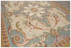 8X10 PASTEL BLUE IVORY PINK Aubusson Area Rug Carpet FREE SHIP! French Shabby Rose Chic home decor
