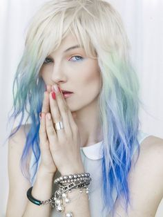 I wish I was blonde sometimes to be able to do colors like this so effortlessly... I wouldn't do that bright of a blue, though. Nor do I like that light of blonde.