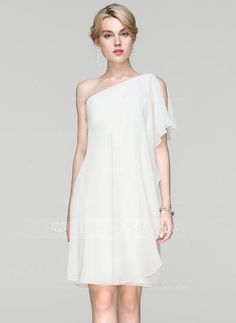 [US$ 86.69] Sheath/Column One-Shoulder Knee-Length Chiffon Cocktail Dress With Ruffle (016094382)