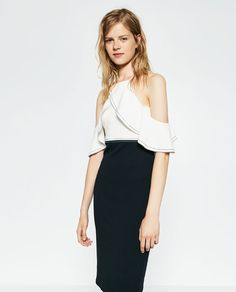 Image 1 of TWO-TONE DRESS WITH FRILL from Zara