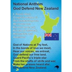 An sized chart showing our New Zealand National Anthem in English and Maori. Good chart to display in school halls Learning Resources, Teaching Tools, Maori Songs, Waitangi Day, Maori Symbols, Maori Designs, Nz Art, Matou, Anzac Day
