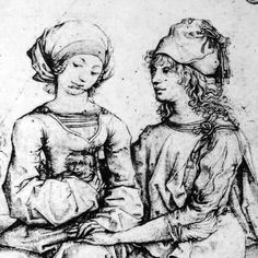 detail from pair of lovers, c. 1485, Housebook Master, South Germany (Rijksmuseum Amsterdam)
