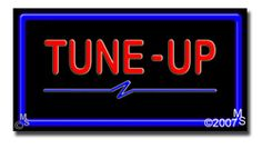 "Tune Up Neon Sign - 20"" x 37""-ANS1500-6428-R  37"" Wide x 20"" Tall x 3"" Deep  Flashing Border ""ON/OFF"" switch  Sign is mounted on an unbreakable black or clear Lexan backing  Top and bottom protective sides  110 volt U.L. listed transformer fits into a standard outlet  Hanging hardware & chain included  6' Power cord with standard transformer  For indoor use only  1 Year Warranty on electrical components"