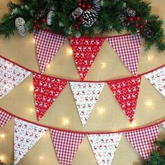 Scandinavian Christmas Bunting - Nordic Stag stars snowflakes xmas trees from Diy Christmas Bunting, Christmas Decorations Sewing, Christmas Tree Garland, Christmas Sewing, Christmas Fabric, Retro Christmas, Christmas Holidays, Christmas Crafts, Xmas Trees